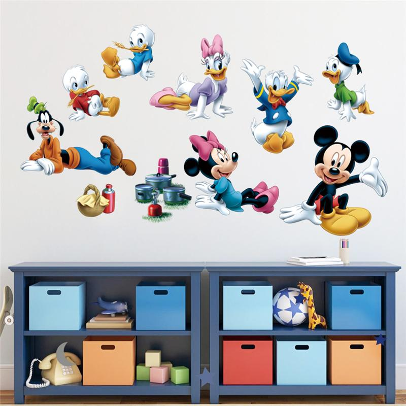 Mickey Minnie Mouse Donald Duck Wall Sticker For Kids Room Decoration Diy Home Decal Animals Cartoon Movie Mural Art Posters
