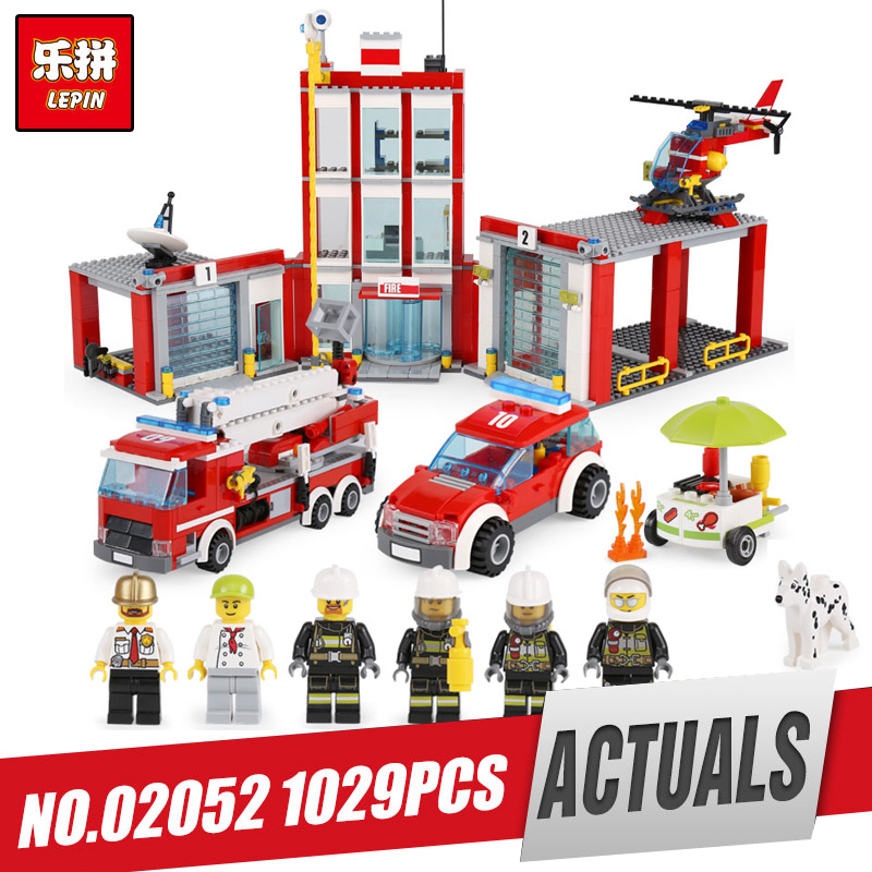 Lepin 02052 Genuine 1029Pcs City Series The Fire Station Set 60110 Building Blocks Bricks Educational Toys As LegoINys Gift lepin 02054 genuine city series 239pcs the fire ladder truck set 60107 building blocks bricks educational christmas toy as gift