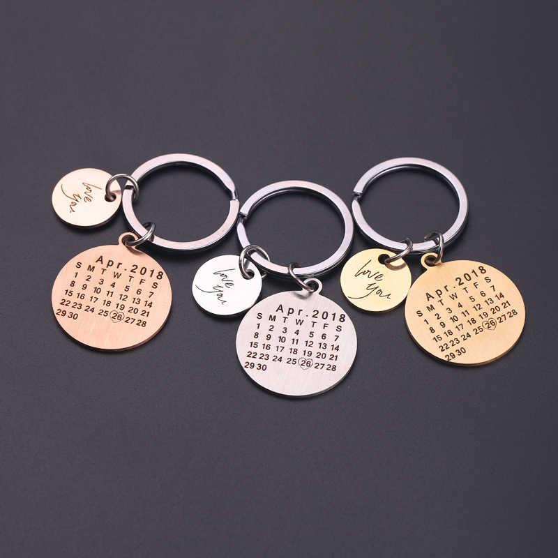 ใหม่ Drop Shipping แฟชั่นที่กำหนดเองพวงกุญแจปฏิทิน llaveros คู่ Key Chain แฟนแฟนแฟนคนรักเครื่องประดับของขวัญ