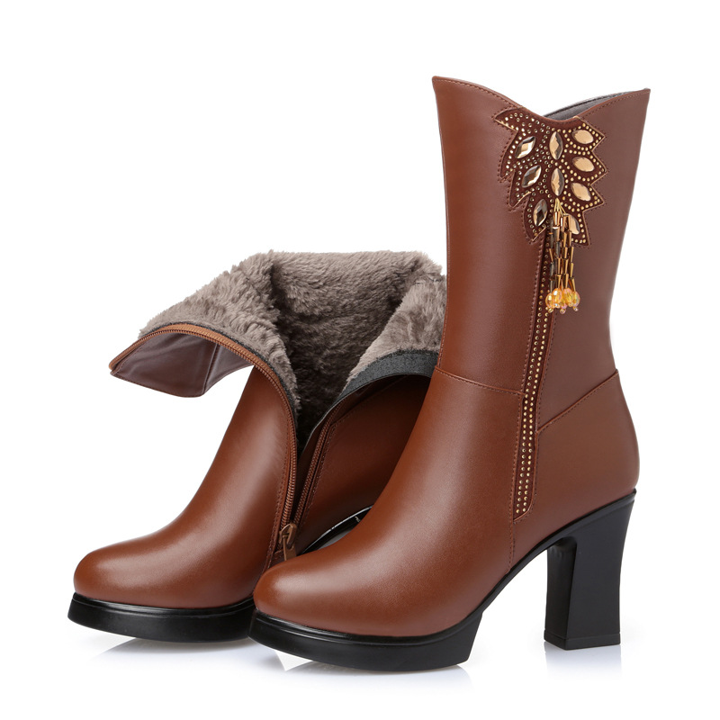 2019 New Winter Warm Comfort Inside Plush Wool Snow Boots High Heeled Boots Non-slip Genuine Leather Boots Fashion Women Boots