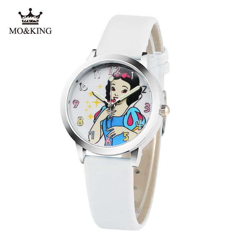 Quartz-Watch Children Girl Princess Cartoon Cute Dial For Kids 7-Colors Snow-White Birthday-Party-Gift