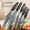 XINZUO 5 Pcs Kitchen Knives Set Damascus Kitchen Knife Japanese VG10 Cleaver Chef Utility Knife Hammer