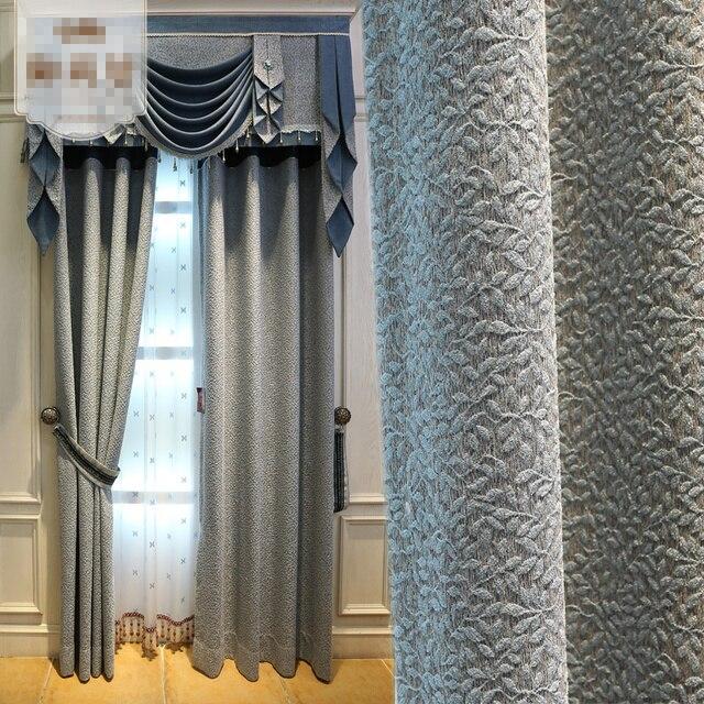 custom gordijnen eenvoudige moderne europese pastorale luxe gordijnen jacquard effen doek blackout gordijn volant tulle e812