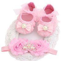 Baby Princess Crown Pre Walkers Shoes Headband Set Wedding Christening White