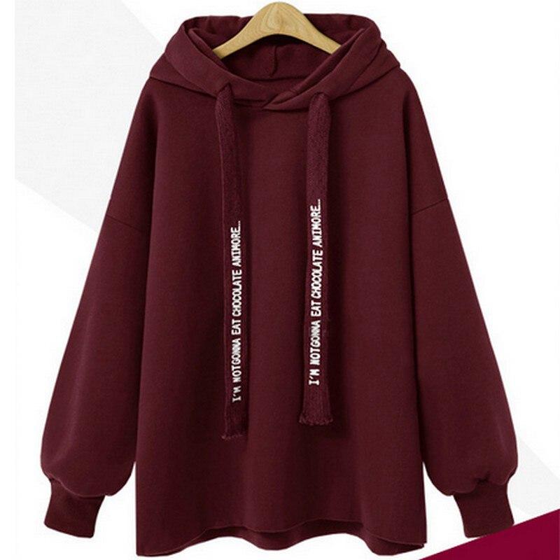 US $15.29 10% OFF|PLAMTEE Casual Hoodies Sweatshirt Women Harajuku Hooded Hoody Letter Oversize Hoodie Kpop Loose Pullover Thick Warm Tracksuit in