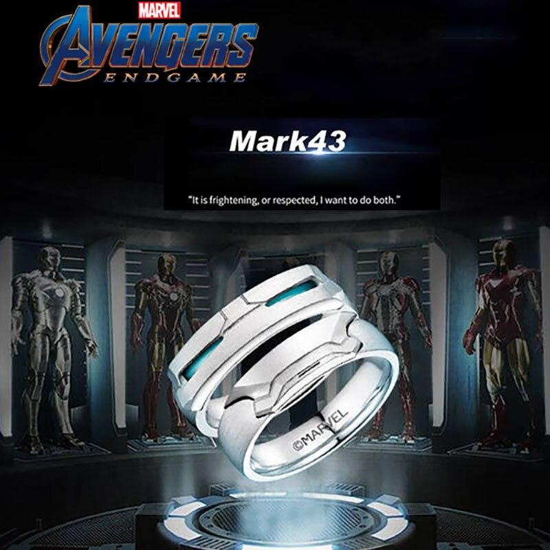 Bijoux Marvel les Avengers bague homme en fer 925 bague argent Mark43 Super héros péronalité Souvenirs Fans cadeau