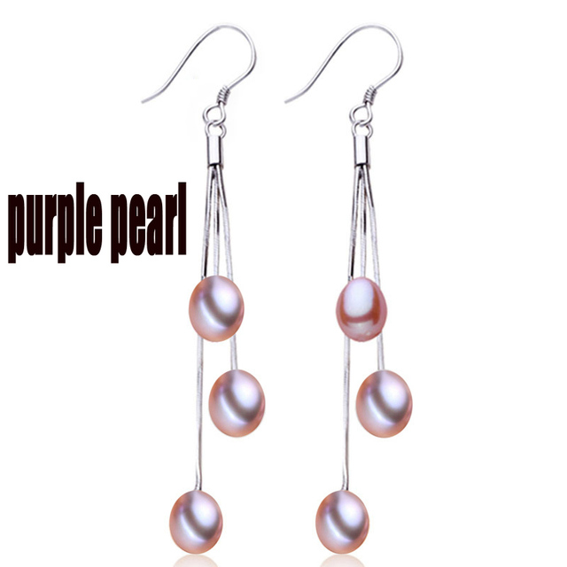 LONG pearl earrings drop,fresh water real natural pearl earring jewelry pendientes plate brincos white daughter birthday gift