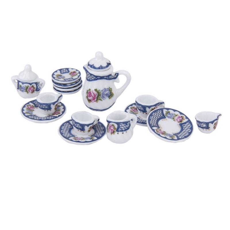 15pcs Miniature British Style Porcelain Tea Set Dish Cup Plate Blue for 1 12 Dollhouse in 3D Printing Materials from Computer Office