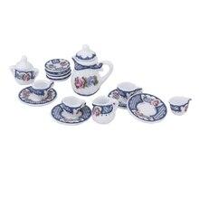 15pcs Miniature British Style Porcelain Tea Set Dish/Cup/Plate---Blue for 1/12 Dollhouse