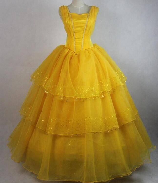 movie Beauty and the Beast Movie Princess Belle Emma Watson cosplay costume Halloween Belle dress with petticoat 5313