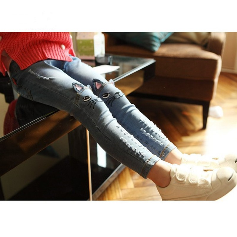 Girls' Cat Printed Jeans with Elastic Waist 12 » Pets Impress