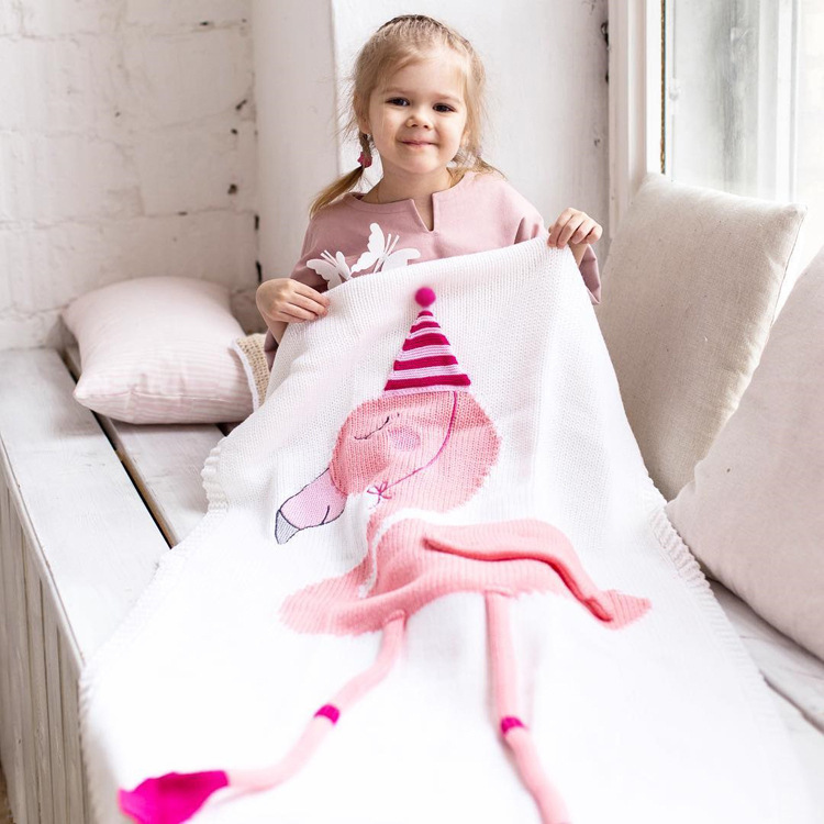 Boutique Flamingo Knitted Blanket Photography Props Knitting Throw Small Children Baby Game Mat Gift for Kids
