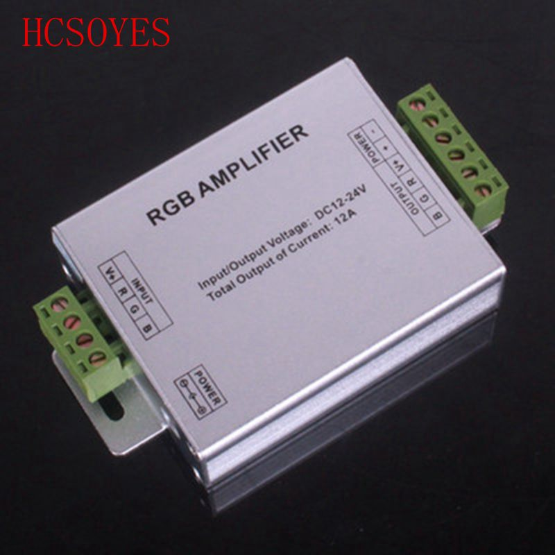 1pcs DC 12V-24V Aluminum Case 12A 24A RGB Amplifier For SMD 3528 & 5050 LED Strip Light