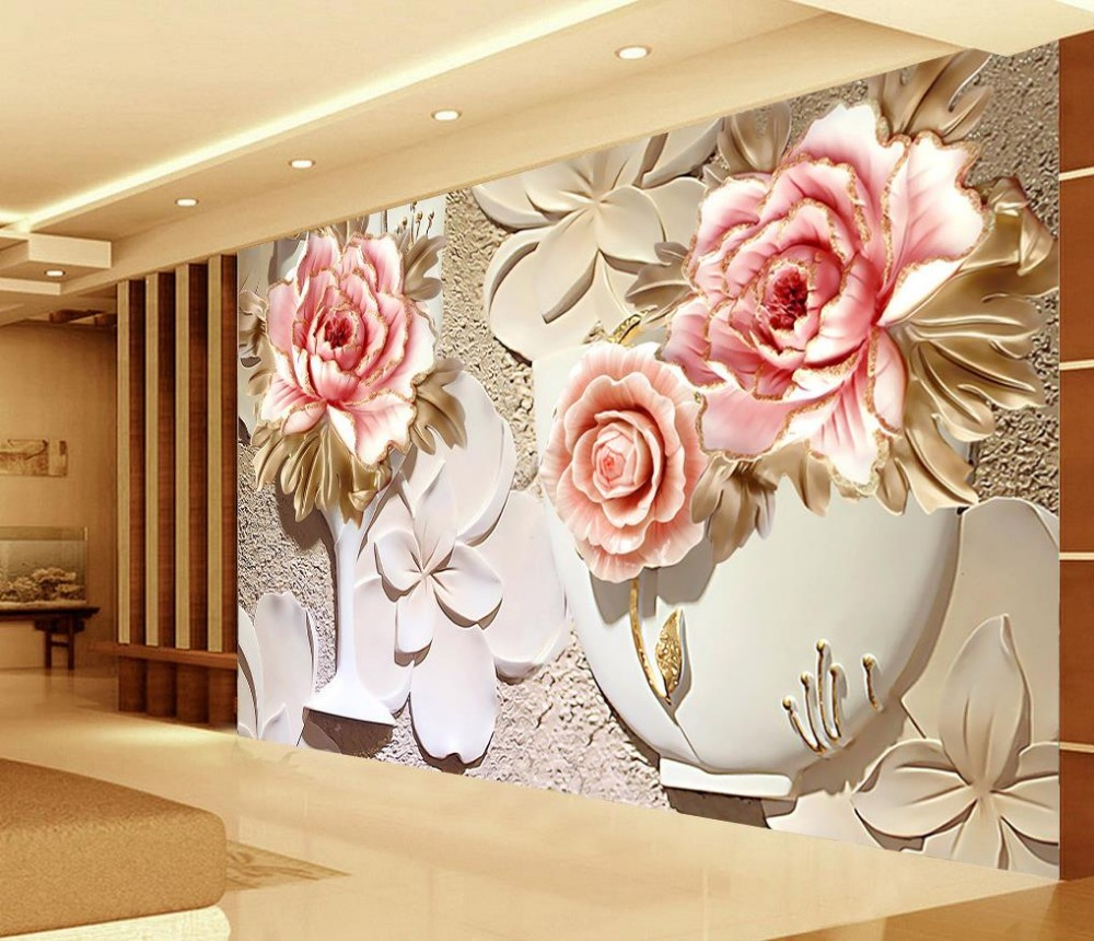Custom 3d wallpaper murals 3d flower wallpaper relief for 3d wallpaper of house