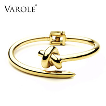 VAROLE Trendy Nail Knot Stainless Steel Cuffs Bracelets Noeud Gold Color Bangle Bracelet For Women Manchette Bangles Pulseiras