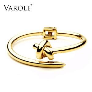 Image 1 - VAROLE Trendy Nail Knot Stainless Steel Cuffs Bracelets Noeud Gold Color Bangle Bracelet For Women Manchette Bangles Pulseiras