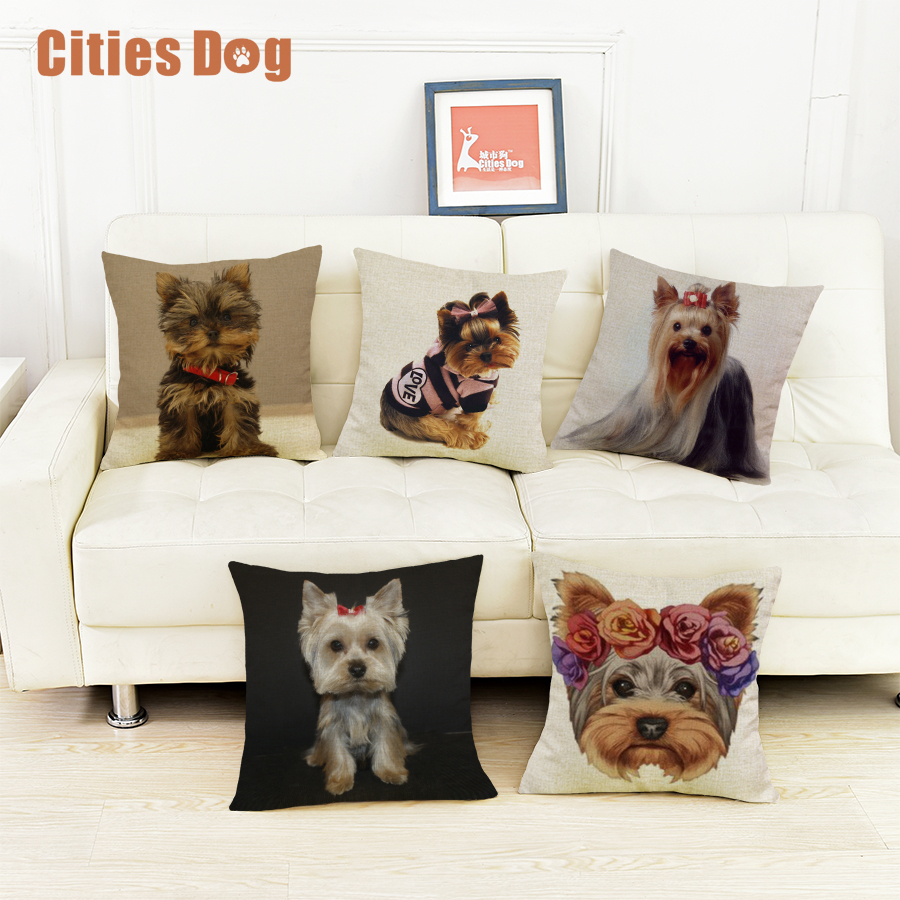 Online Shop Yorkshire terrier dog cushion sofa cover pillows ...