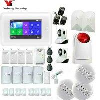 Yobang безопасности сенсорный экран Wi Fi 3g GPRS RFID беспроводной домашний Охранная Сигнализация приложение управление ip камера Дым пожарный датчи