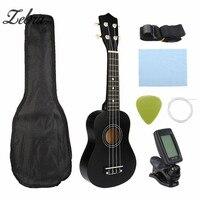 Zebra Guitar Combo 21 Black Soprano Ukulele Uke Hawaii Bass Guitar Guitarra Musical Instrument Set Kits