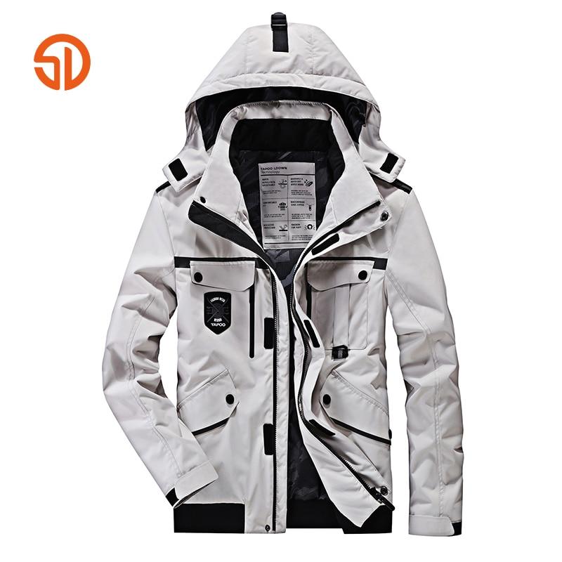 Winter Jackets Mens Black White Color Hooded Parka Men Over Coats Multi Pockets Thick Windbreaker Loose XXXXXL Plus Size M-4XL