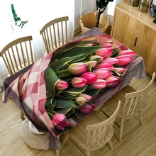 Customizable 3D Rose Flower Round Tablecloth Dustproof Washable Thicken Cotton Rectangular Table Cloth for Wedding Decoration