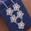 Free shipping Beautiful fashion silver Plated wedding party new charm pretty Flower lovely cute Necklace jewelry N336