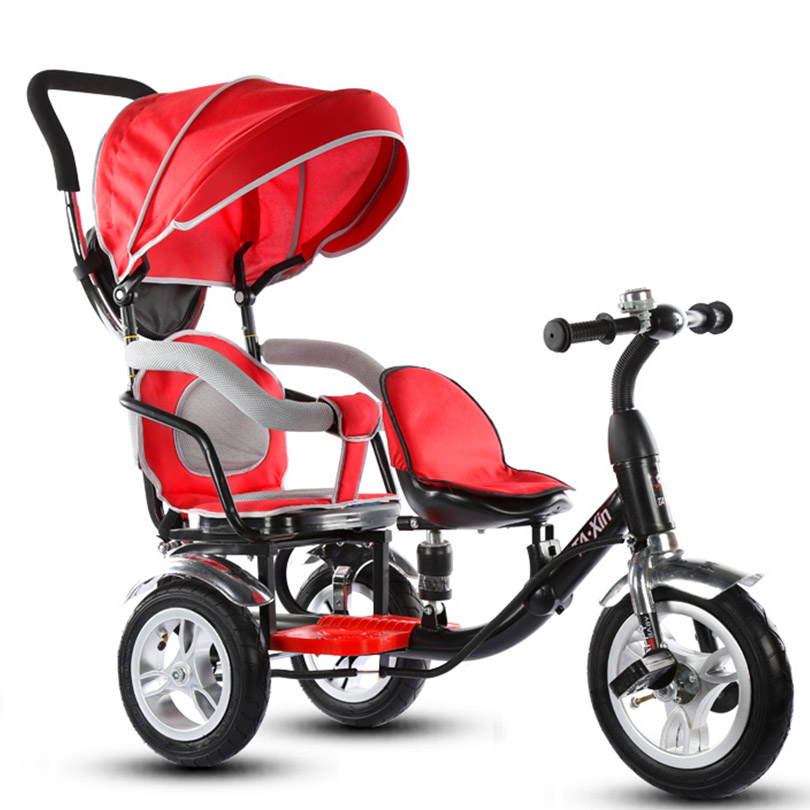 Child tricycle baby bike double boy and girl stroller twin ...