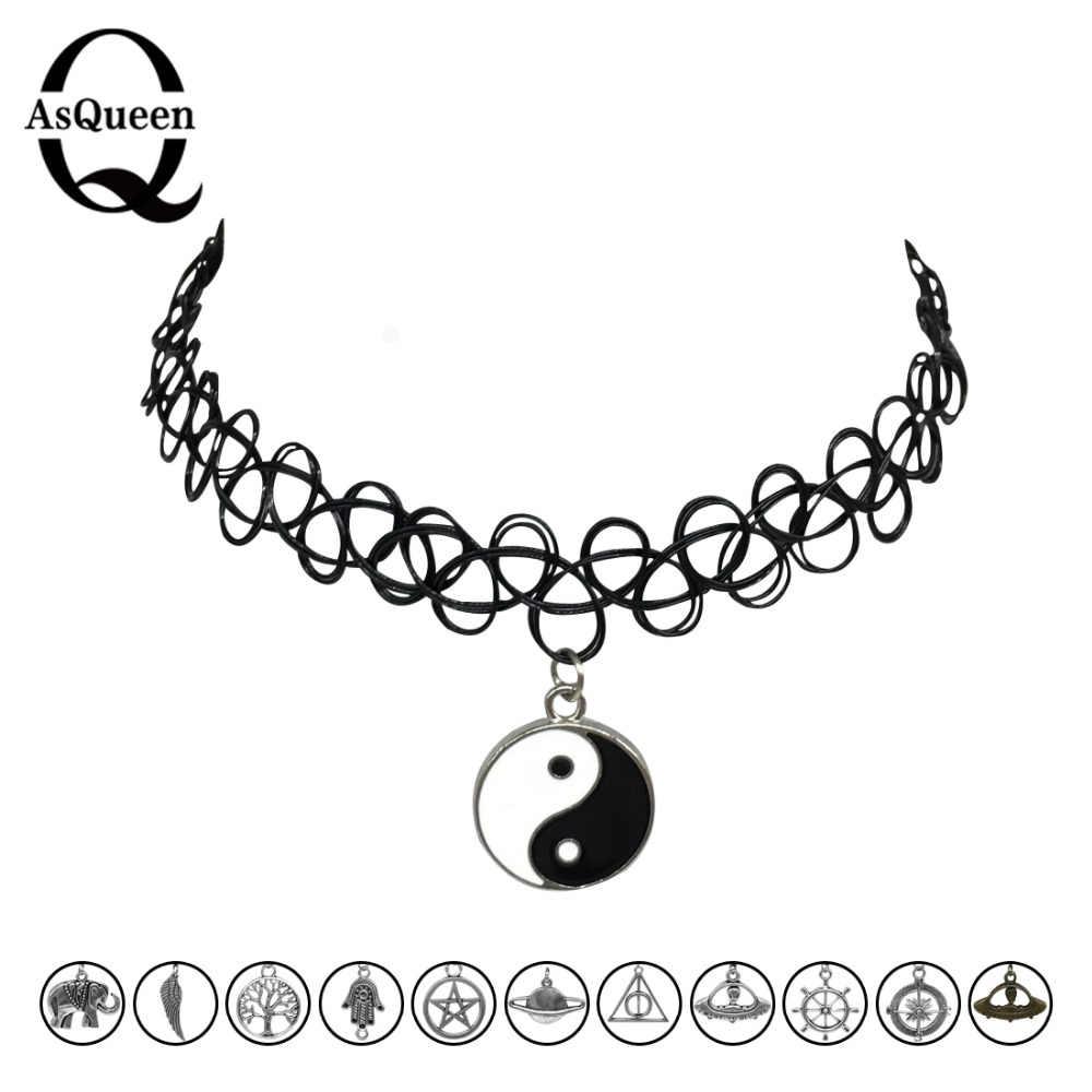 12 estilos tatuagem colar gargantilhas moda yin yang cruz árvore da vida colar de mulheres de jóias por atacado presente de natal