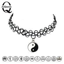 12 estilos gargantilhas de tatuagem, colar moda yin yang, cruz da árvore da vida, joias femininas, presente de natal