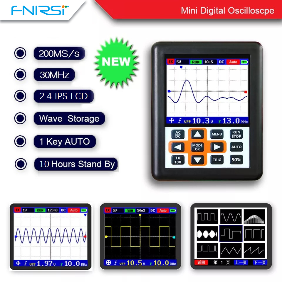 DSO FNIRSI Handheld mini portable digital oscilloscope 30M bandwidth 200MSps sampling rate IPS display Весы