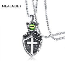 Meaeguet Punk Cross Shield Amulet Pendants Necklace Stainless Steel Crown Collier Statement Green Eye Necklace Men Jewelry(China)