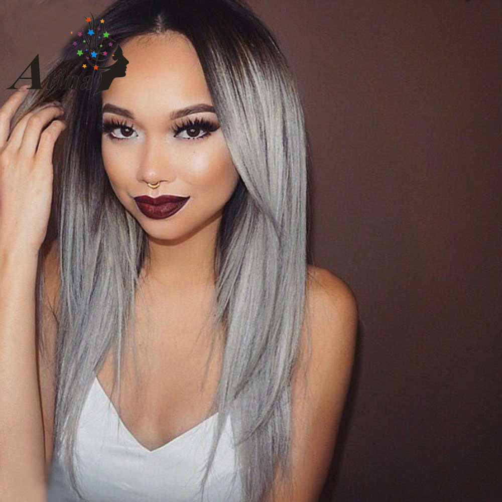 Grey Ombre Human Hair Wig Straight Dark Root 1BTGrey Lace Front Wig Brazilian Virgin Hair Lace