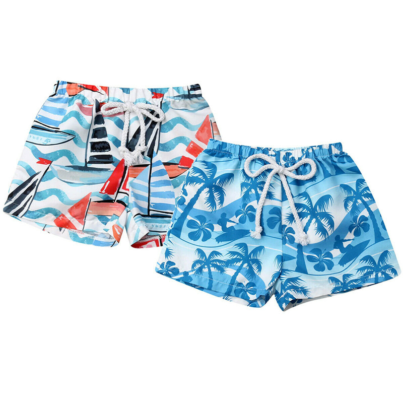 New Hawaiian Toddler Baby Boys Elastic Waistband Shorts Print Swim Trunks Summer Holiday Beach Board Shorts