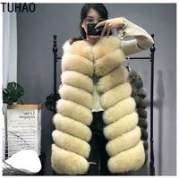 TUHAO Plus Size Women Winter Coat Long Faux Fur Women Luxury Faux Fox Long Fur Vest Furry Vintage Elegant Woman Fake Fur Vest
