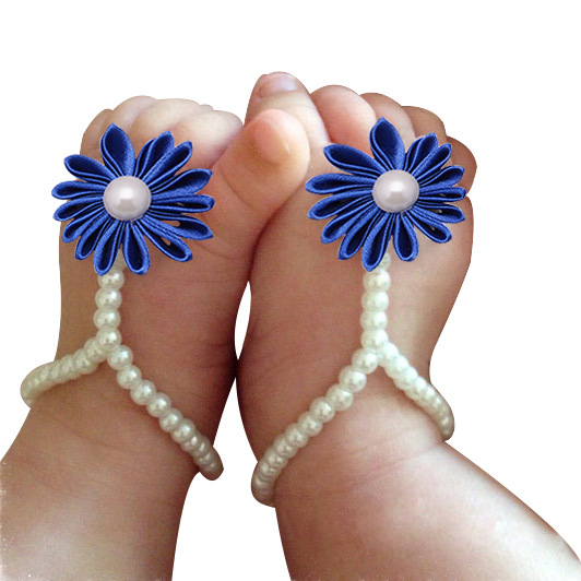 Mother nest Baby Kids Girls 1Pair Infant Pearl Chiffon Barefoot Toddler Foot Flower Beach Sandals Wholesale