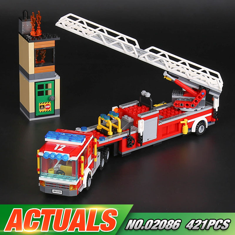Lepin 02086 Gneuine 421PCS City Series The Fire Engine Set Building Blocks Bricks New Year Gift As Children Funny Gift Kid`s Toy the new jjrc1001 lepin city construction series building blocks diy christmas gift for kid legoe city winter christmas hut toy