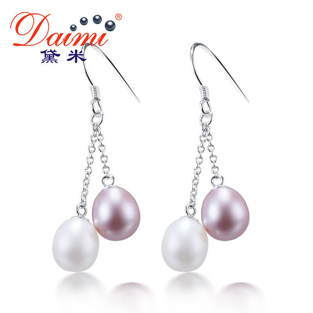[Daimi] Tassel 925 Silver Earrings Double Pearl Drop Earrings Naturel Pearl Popular Jewelry LOVELINESS