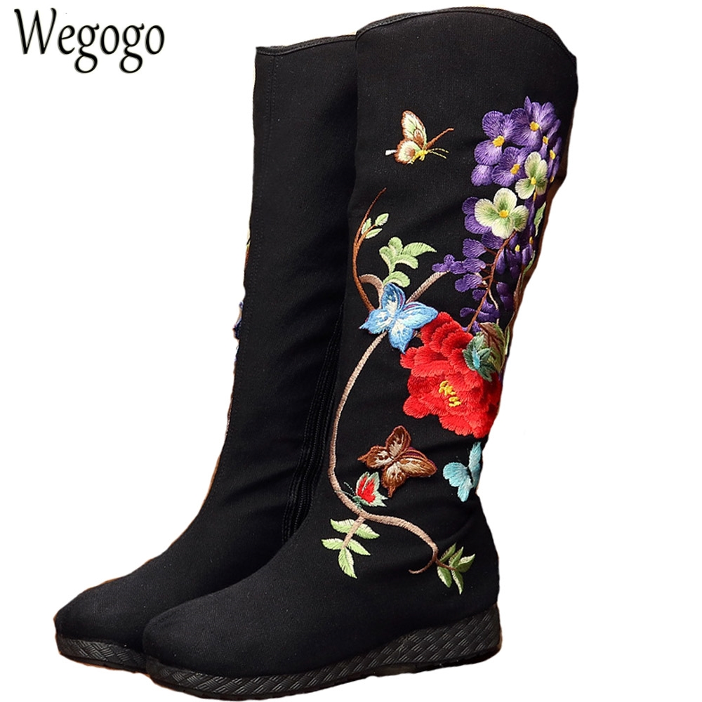 Vintage Embroidery Boots National Floral Knee Boots Retro Butterfly Embroidered High Quality Winter Warm Zipper Shoes Woman vintage embroidery women flats chinese floral canvas embroidered shoes national old beijing cloth single dance soft flats