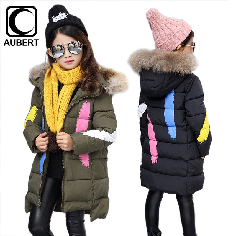 Girls Parkas Winter New Long Section Kids Down Jacket Coat Fur Collar Hooded Thick Warm Cotton Outerwear Children Clothing new korean version winter children s clothing baby girls thick fur collar hooded coat fashion casual children cotton warm coat