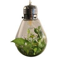 Современные светодиодный завод подвесные светильники дерево стеклянная бутылка люстры светильник промышленного e27 220 В Декор подвесной св