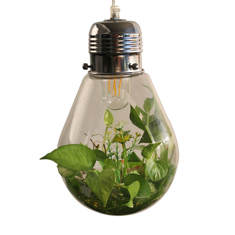Modern LED plant pendant lights wood glass bottle lustres luminaire industrial e27 220v decor hanging lamp led lampara lighting цена