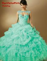 Vestido De Anos Curto Quinceanera Mint Blue Purple Ball Gowns Cap Sleeve Sweet 15 Dresses Keyhole