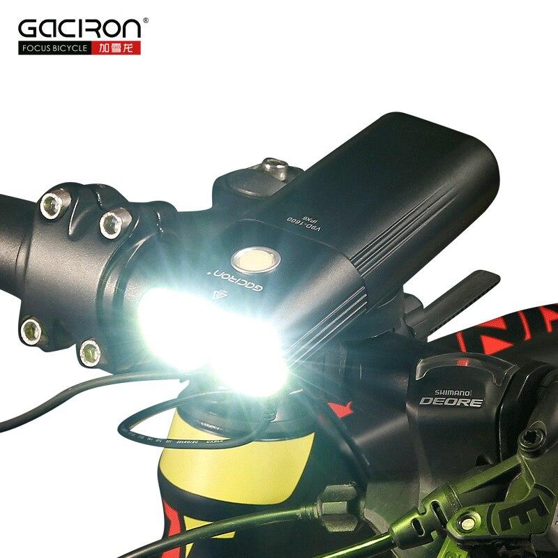 GACIRON Vélo Lumière USB Rechargeable Vélo Avant Phare Vélo lampe de Poche IPX6 Étanche 5000 mah 1600 Lumen LED Lampe 6 Mode