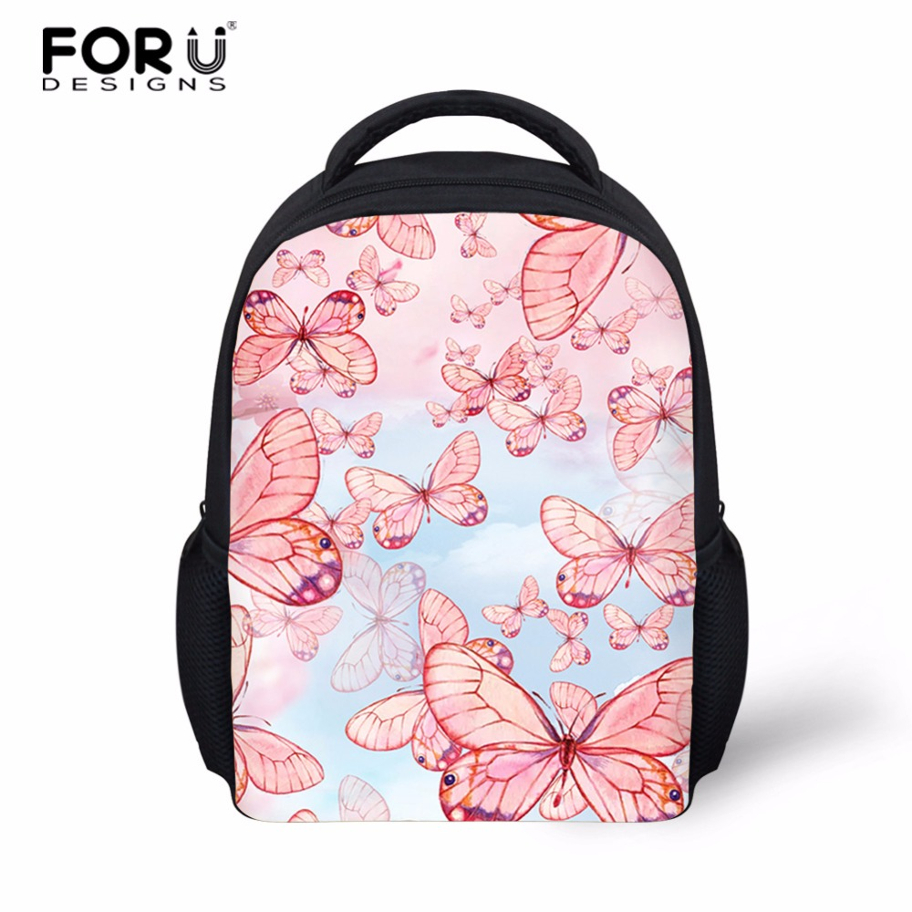 FORUDESIGNS 3D Butterfly Printed Puppy Kids School Bags For Girls Children Small Backpacks Child Daily Casual Book Bag Mochilas