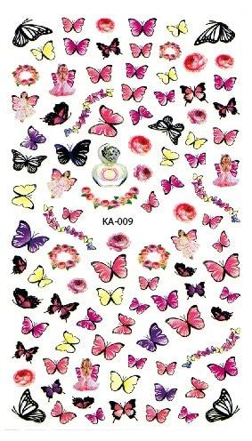 ΞTransfer air Tengkorak Nail Art Sticker Colorful Kupu-kupu Bunga ... 69b950d13e
