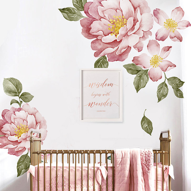 Peony Flowers Wall Sticker Vintage Watercolor Peel and Stick painting Removable Stickers modern Home decor art diy baby bedroom