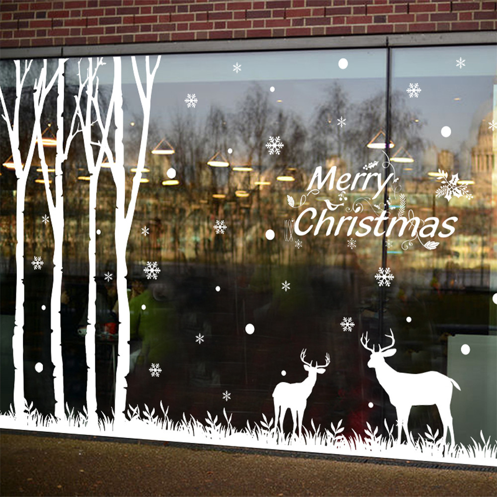 Christmas Wall Sticker Snowflake Elk Christmas Tree Shop Window Bedroom Store Decoration enfeites de natal ...