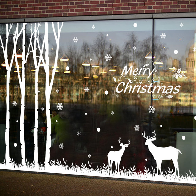 Christmas Wall Sticker Snowflake Elk Christmas Tree Shop Window