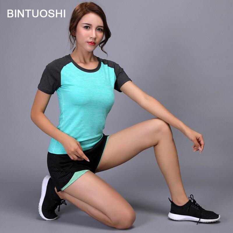 BINTUOSHI Women Yoga Set Quick Dry Sport Shirt+Shorts Tennis Gym Workout Clothes Short Sleeve Fitness Running Suit
