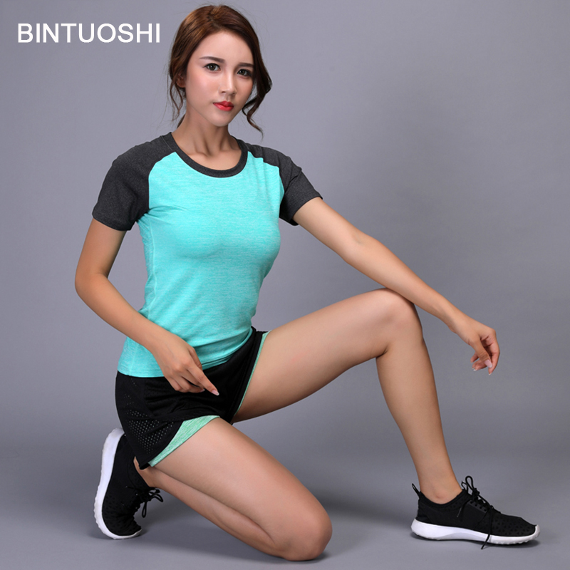 BINTUOSHI Women Yoga Set Quick Dry Sport Shirt+Shorts Tennis Gym Workout Clothes Short Sleeve Fitness Running Suit